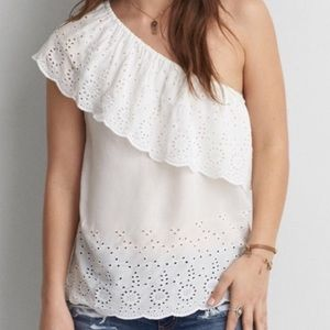 American Eagle Outfitters One Shoulder Eyelet Top